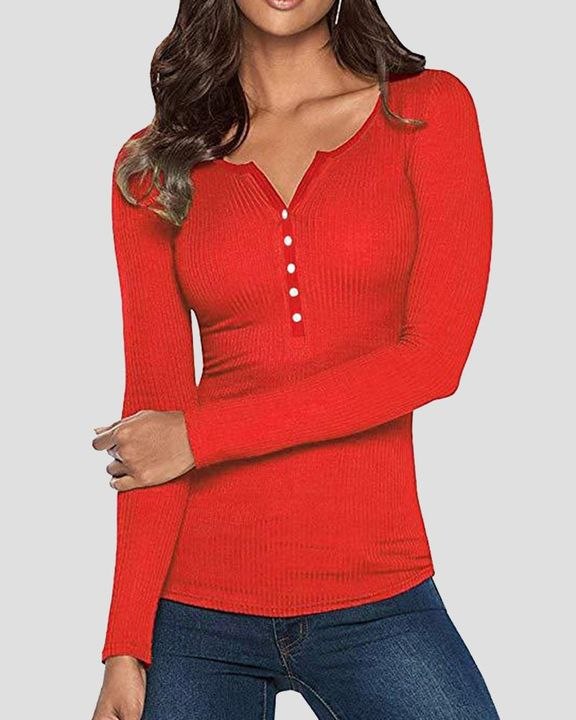 Solid Rib-Knit Button Front Long Sleeve Sweater gallery 1