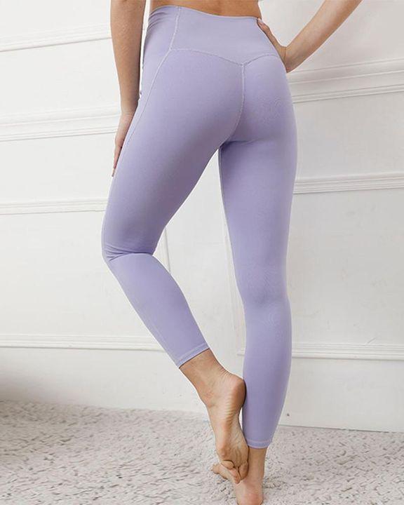 Contrast Stitch Pocket Side Softness Butt Lifting Sports Leggings gallery 7
