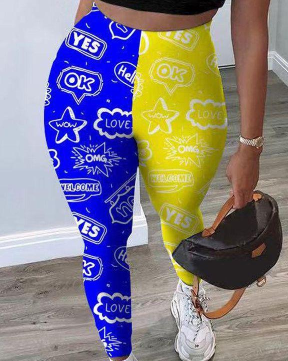Colorblock Strar & Letter Print Crop Top & Pants Set gallery 2