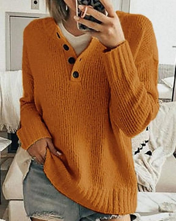 Solid Rib-Knit Button Front Drop Shoulder Sweater gallery 5