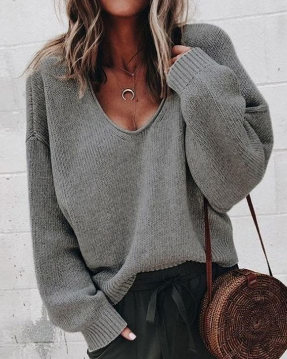 Solid Rib-knit Drop Shoulder Sweater gallery 6