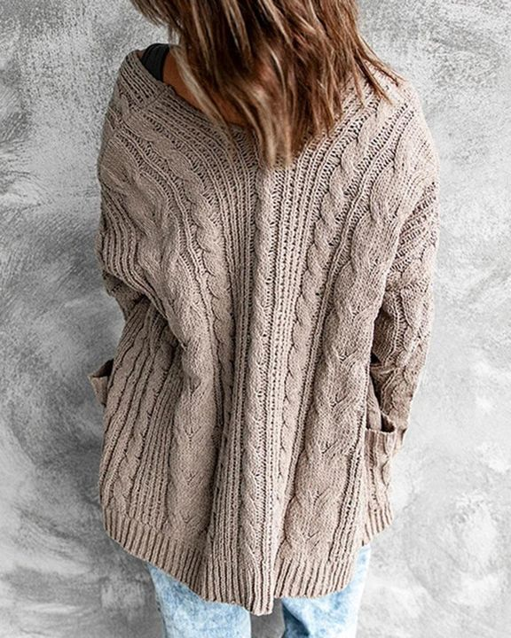 Solid Dual Pocket Cable Knit Cardigan gallery 6