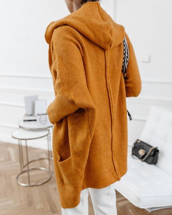 Solid Dual Pocket Hooded Cardigan gallery 5