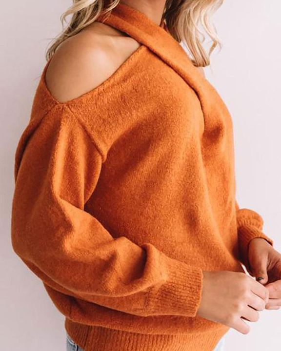 Solid Cold Shoulder Rib Knit Sweater gallery 13