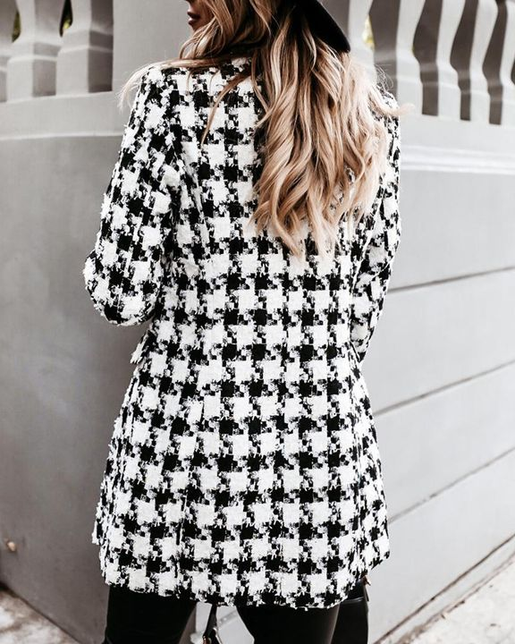 Houndstooth Double Breasted Lapel Neck Coat gallery 16