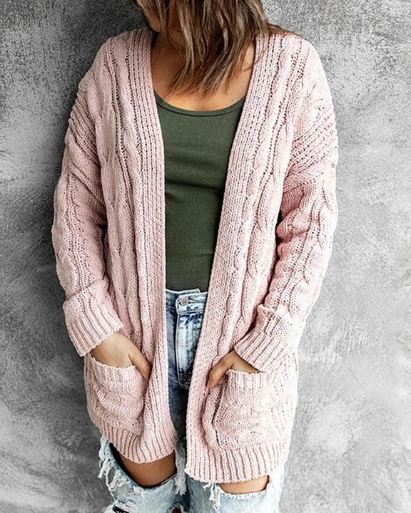 Solid Dual Pocket Cable Knit Cardigan gallery 3