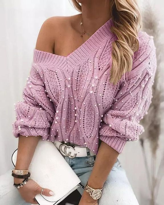 Solid Cable Knit Pearls Beaded V Neck Sweater gallery 2