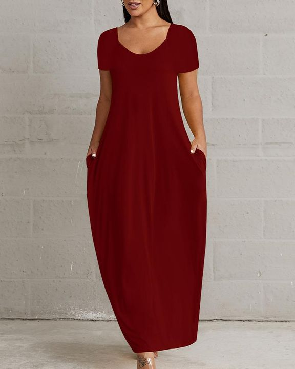 Solid Pocket Detail Maxi Dress gallery 6