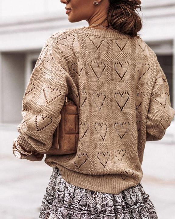 Heart Pattern Hollow Out Rib-Knit Sweater gallery 5