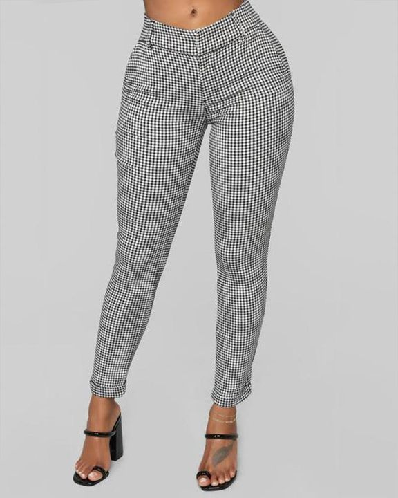 Plaid Cuff Ankle Zip Front Pants gallery 1