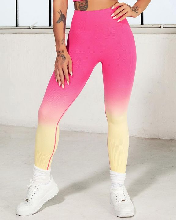 Ombre Wide Waistband Butt Lifting Sports Leggings gallery 10