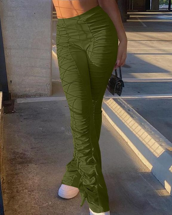 Solid Ruched Flare Leg Stacked Pants gallery 8