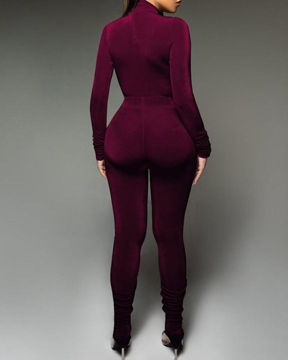 Solid Velvet Form Fitted Top & Pants Set gallery 13