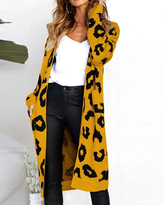 Leopard Print Patch Pocket Open Front Cardigan gallery 7