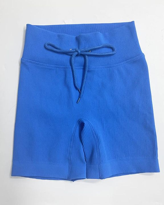 Solid High Waist Drawstring Front Sports Shorts gallery 13