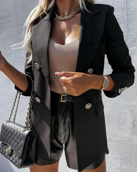Double Breasted Pocket Detail Lapel Neck Blazer gallery 1