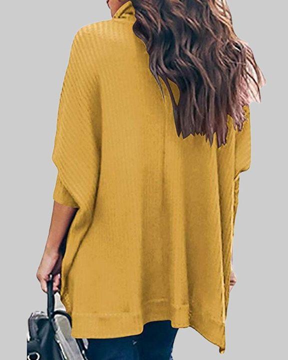 Solid Split Hem High Neck Sweater gallery 6