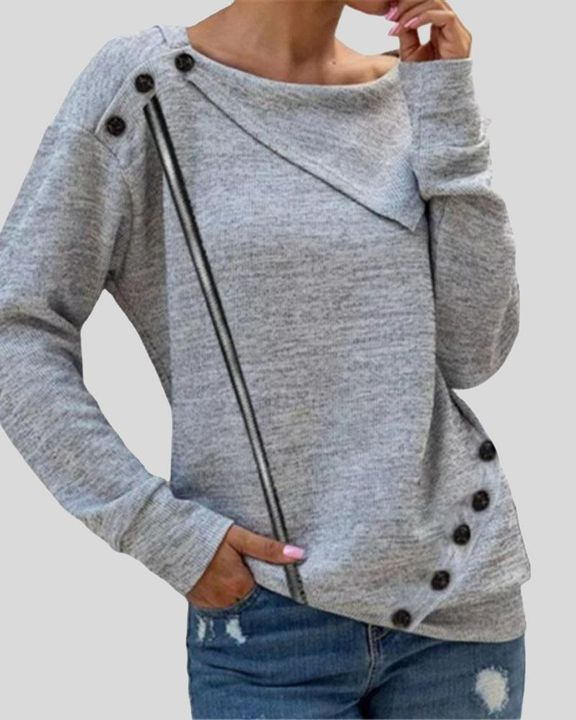 Striped Button Decor Drop Shoulder Sweater gallery 4