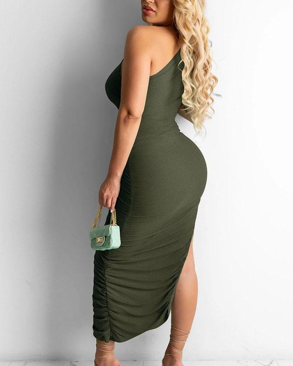 Solid One Shoulder Split Thigh Ruched Dress gallery 13