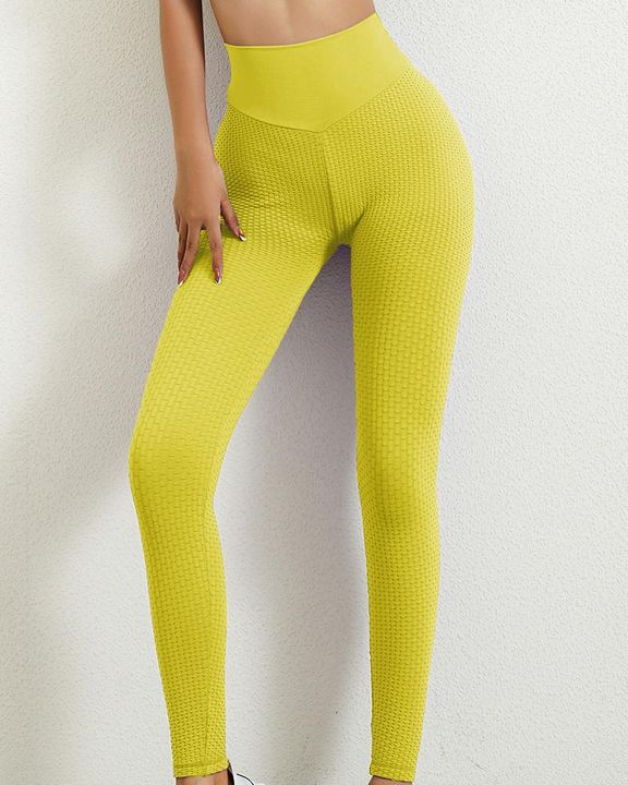 Solid Textured Butt Lifting Leggings gallery 1