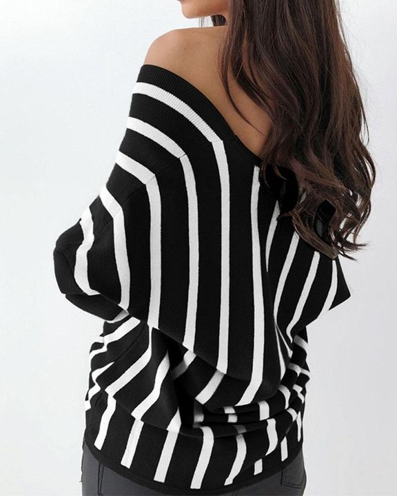 Striped Print Button Decor Off Shoulder Sweater gallery 4