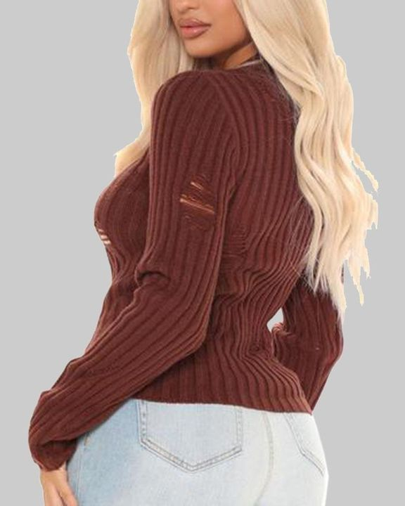 Rib Knit Ripped Bodycon Sweater gallery 5