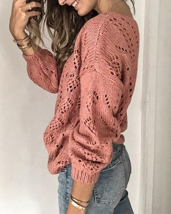 Pointelle Knit Button Up Drop Shoulder Sweater gallery 8
