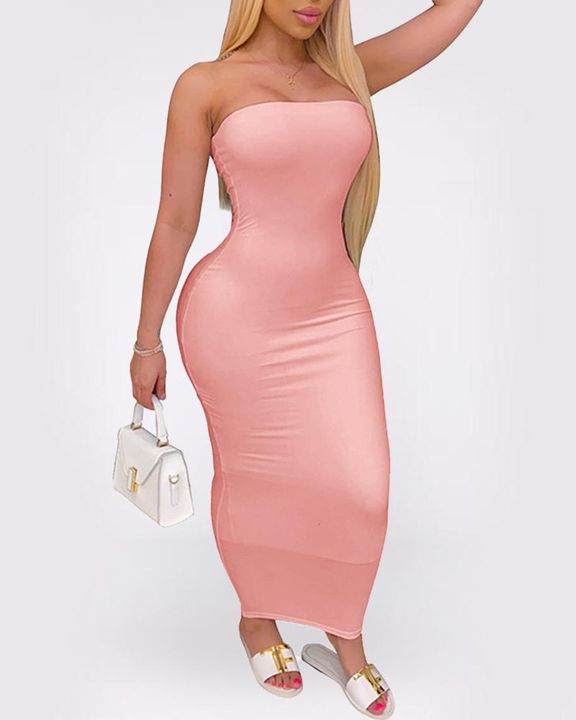 Solid Strapless Tube Maxi Dress gallery 8