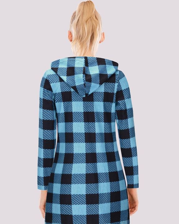 Gingham Button Through Pocket Front Hooded Coat gallery 6