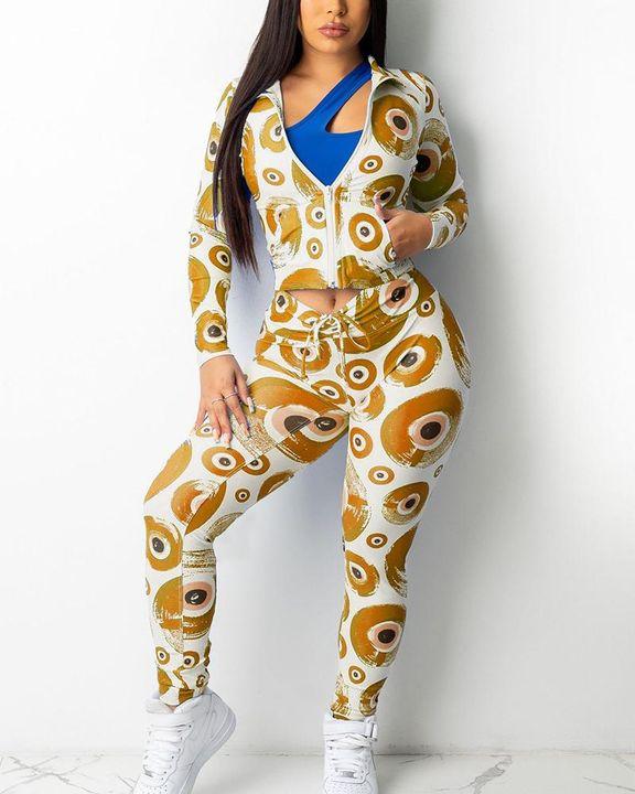 Allover Print Zip Up Drawstring Waist Jacket & Pants Set gallery 3