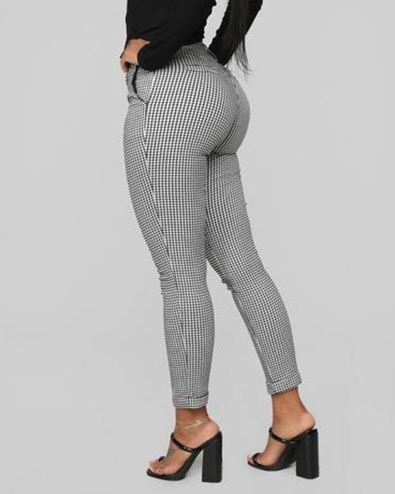 Plaid Cuff Ankle Zip Front Pants gallery 4