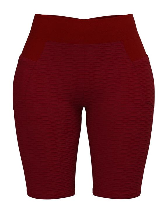 Textured Ruched Back Pocket Detail Sports Shorts gallery 5