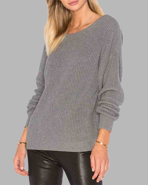 Chunky Knit Cutout Back Drop Shoulder Sweater gallery 6