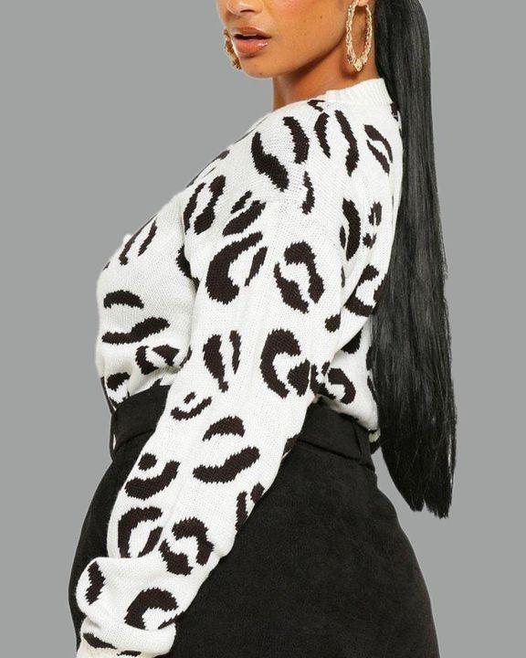 Leopard Print Rib-Knit Round Neck Sweater gallery 11