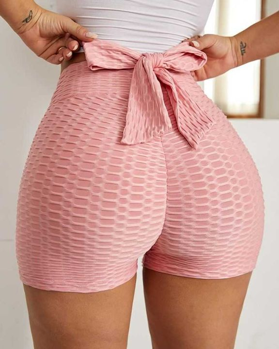 Bow Tie Textured Butt Lifting Sports Shorts gallery 1
