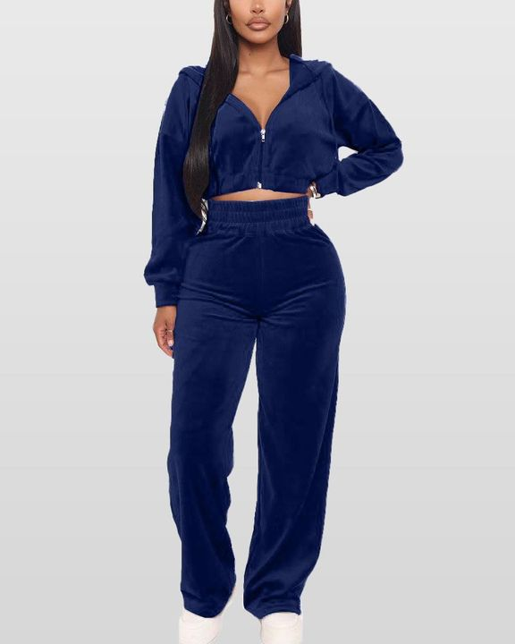 Solid Hooded Zipper Crop Top & Pants Set gallery 5