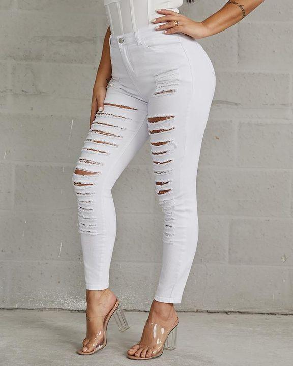Plus High Waist Ladder Distressed Skinny Jeans gallery 2