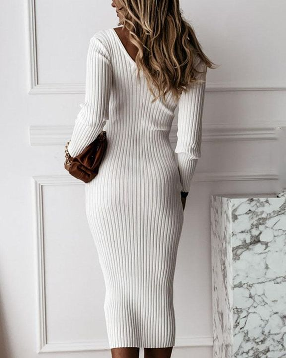 Solid Rib-Knit Form Fitted Maxi Dress gallery 7