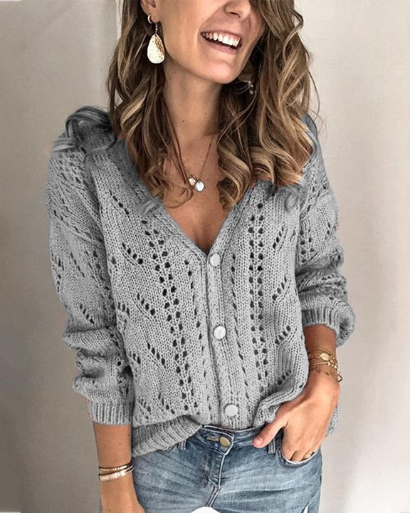 Pointelle Knit Button Up Drop Shoulder Sweater gallery 7