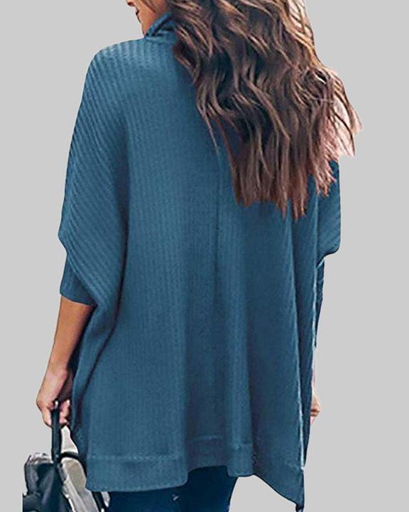 Solid Split Hem High Neck Sweater gallery 10
