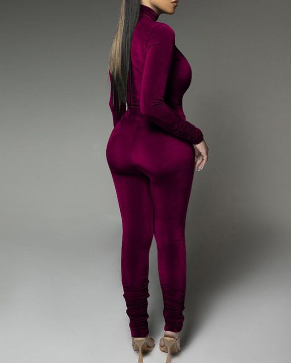 Solid Velvet Form Fitted Top & Pants Set gallery 12