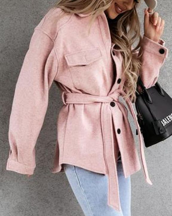 Solid Button Up Flap Pocket Collar Coat gallery 4