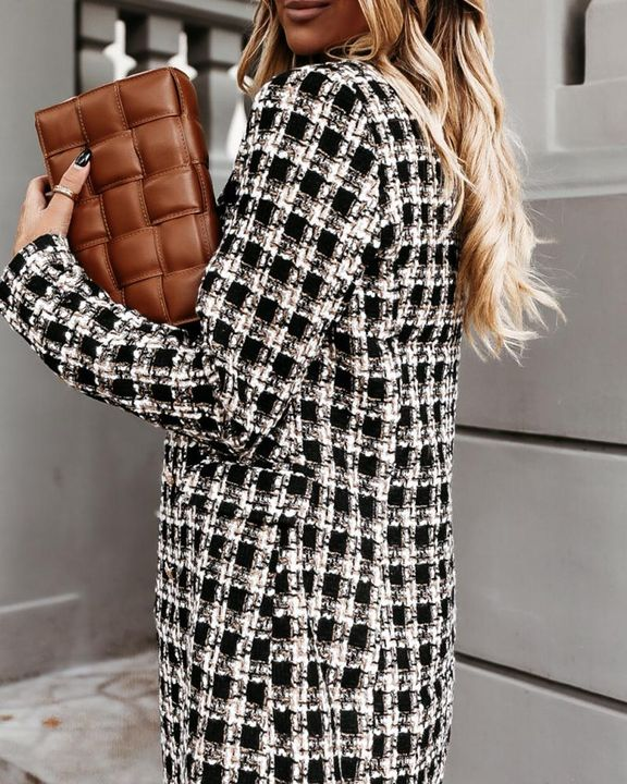 Houndstooth Double Breasted Lapel Neck Coat gallery 11