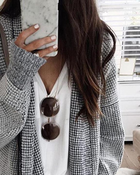 Plaid Open Front Batwing Sleeve Cardigan gallery 3