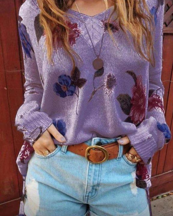 Floral Print Split Hem Drop Shoulder Sweater gallery 3