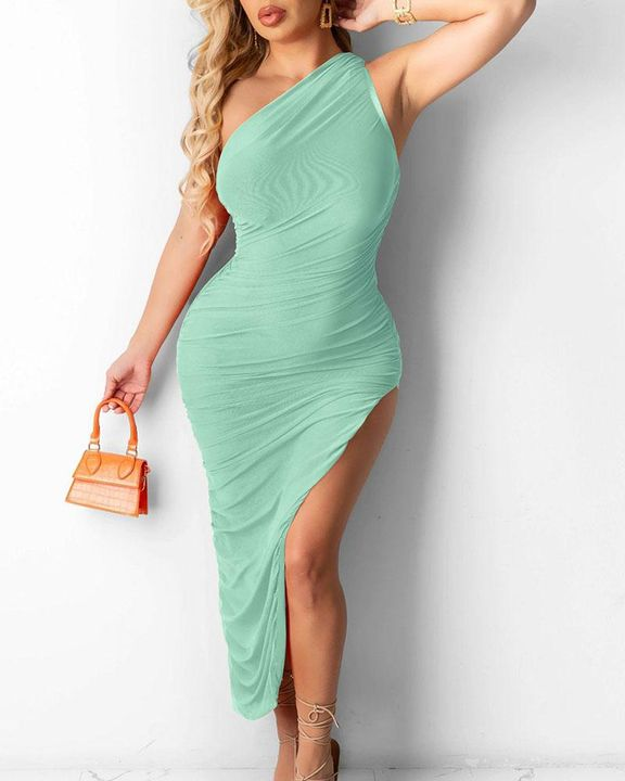 Solid One Shoulder Split Thigh Ruched Dress gallery 5