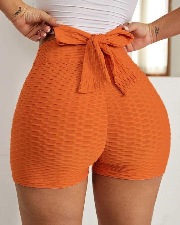 3 Piece Textured Tie Back Scrunch Butt Sports Shorts Set gallery 8
