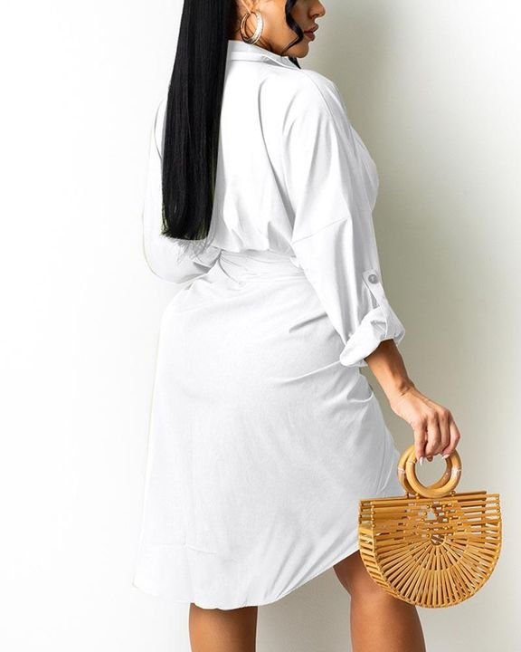 Solid Button Up Ruched Belted Knee Length Dress gallery 4
