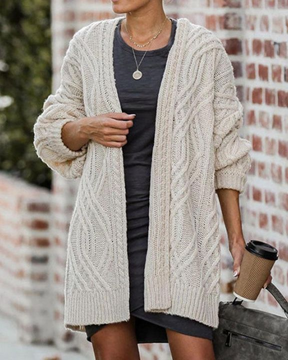 Cable Knit Open Front Drop Shoulder Cardigan gallery 6