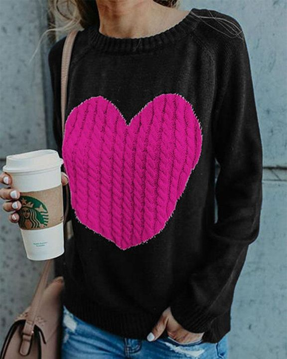 Colorblock Heart Pattern Chunky Knit Round Neck Sweater gallery 2